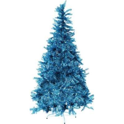 6 ft. LED Festive Turquoise Tinsel Christmas Tree with Clear Lighting