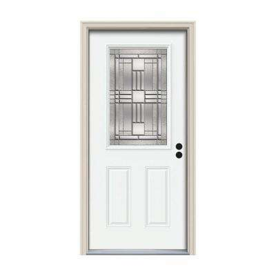 34 in. x 80 in. 1/2 Lite Cordova White Painted Steel Prehung Left-Hand Inswing Front Door w/Brickmould