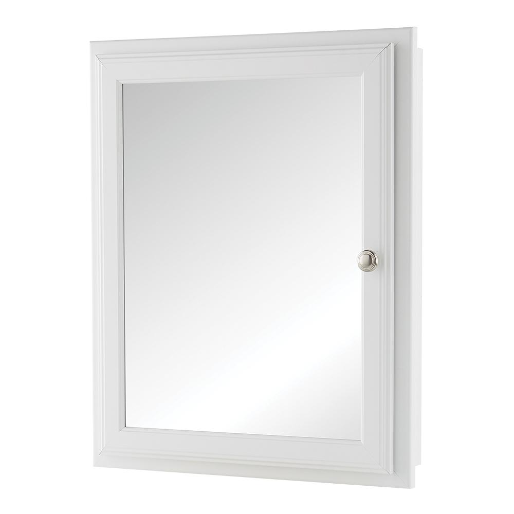 Home Decorators Collection 20 3 4 In W X 25 H Fog Free Framed Recessed Or Surface Mount Bathroom Medicine Cabinet White