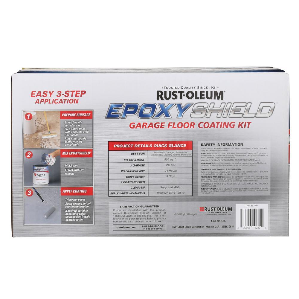 Rust-Oleum EpoxyShield 2 gal. Tan 2-Part High-Gloss Epoxy Garage Floor Coating Kit