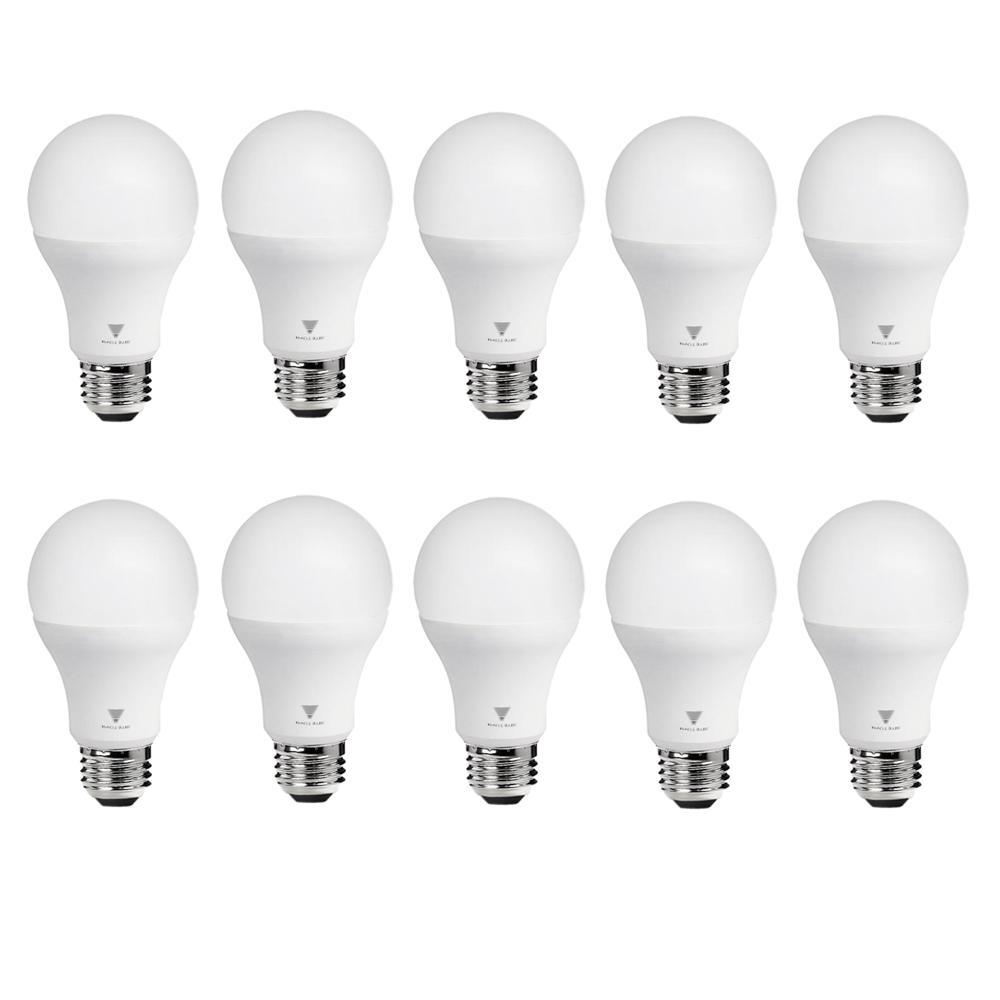 75-Watt Equivalent A19 Dimmable 1,055-Lumens LED Light Bulb Warm White  (10-Pack)