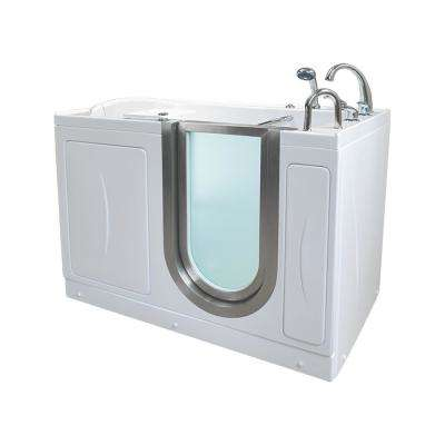 Elite 52 in. Acrylic Air Bath and MicroBubble Walk In Tub in White Heated Seat Fast Fill Faucet Left 2 in. Dual Drain