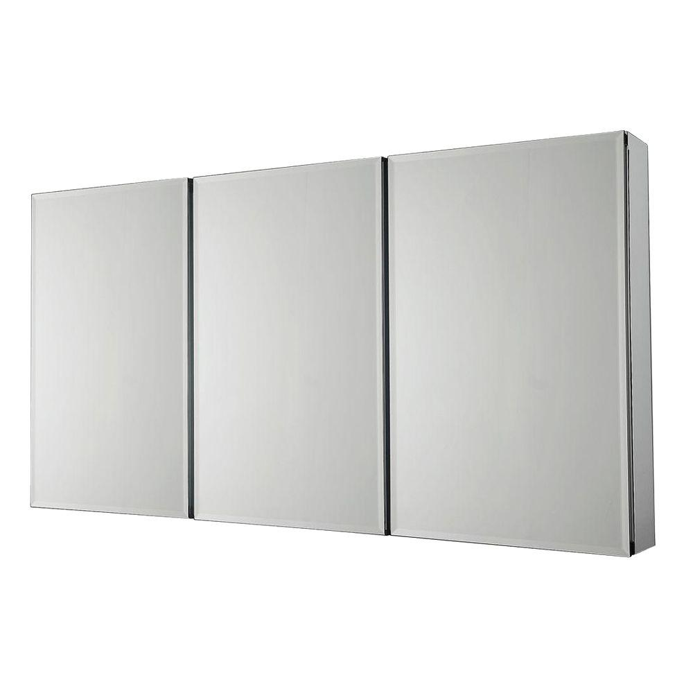 Pegasus 36 in. x 31 in. Recessed or Surface-Mount Tri-View Bathroom Medicine Cabinet with Beveled Mirror