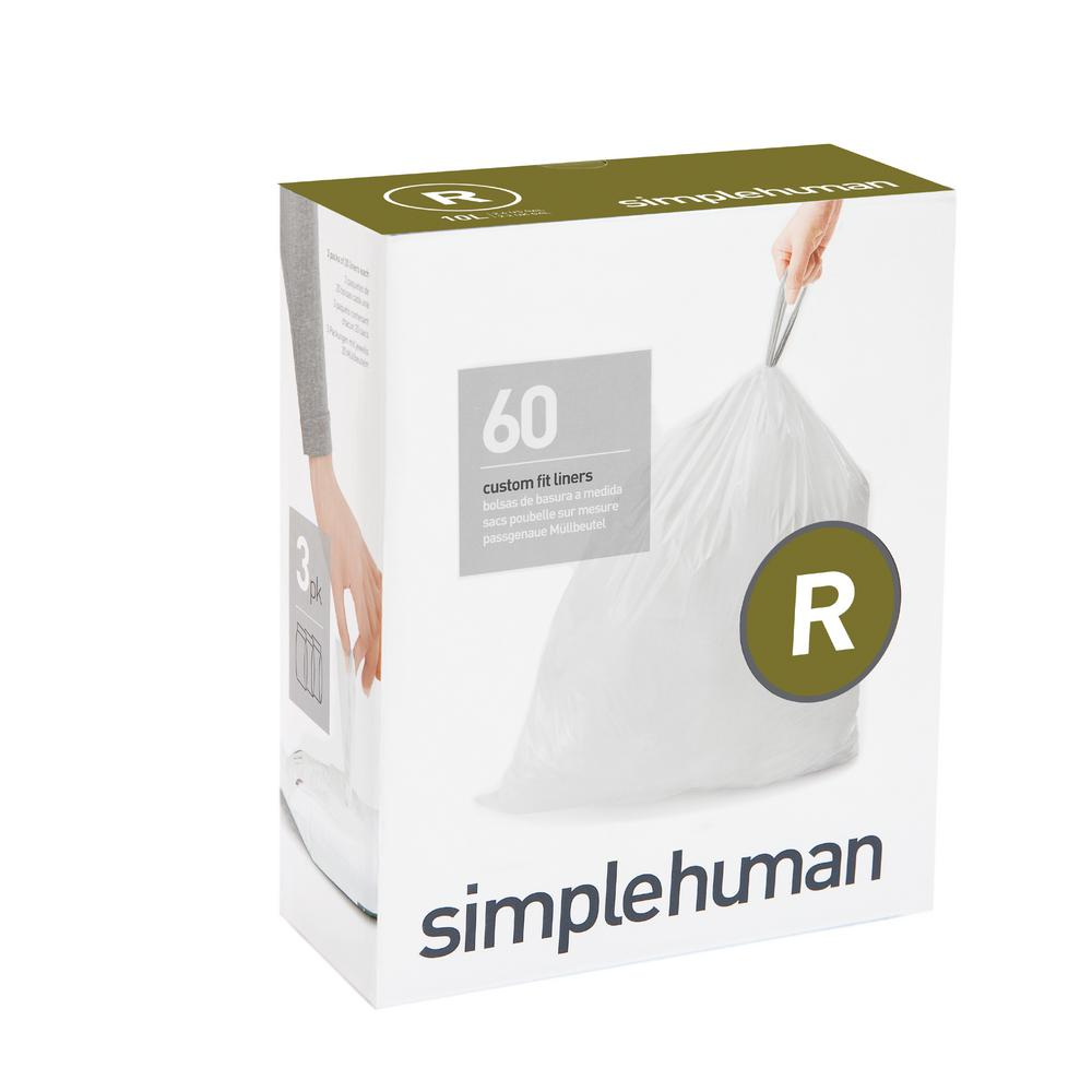 Simplehuman 2 6 Gal Custom Fit Trash Can Liner Code R
