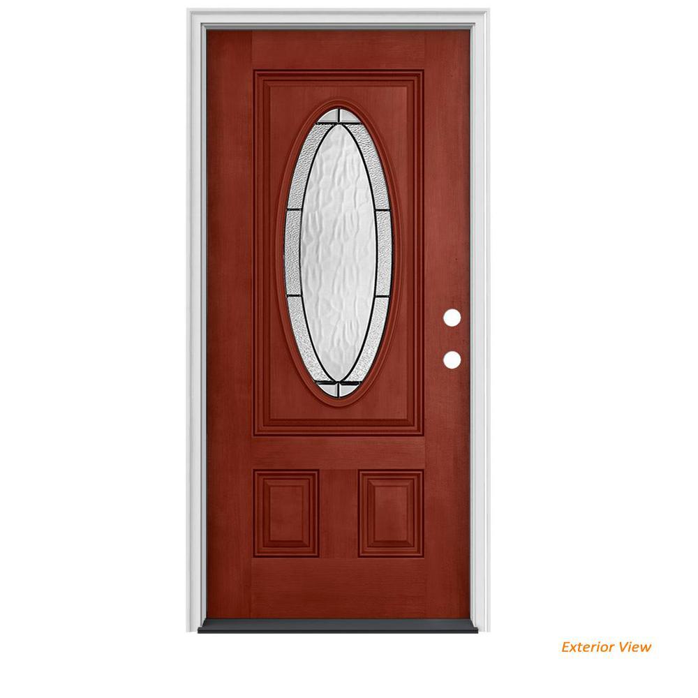 34 in. x 80 in. 3/4 Oval Lite Wendover Black Cherry Stained Fiberglass Prehung Left-Hand Inswing Front Door