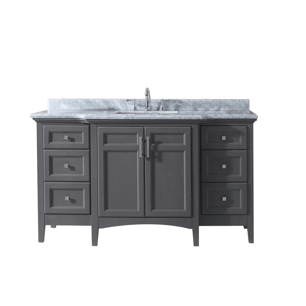 Ari Kitchen and Bath Luz 60 in. Single Bath Vanity in Gray with Marble Vanity Top in Carrara White with White Basin