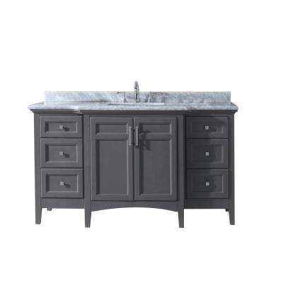 Luz 60 in. Single Bath Vanity in Gray with Marble Vanity Top in Carrara White with White Basin