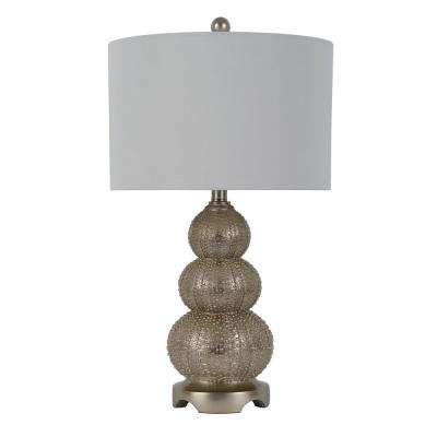 Marin Triple Tier 24.5 in. Silver Table Lamp with Linen Shade