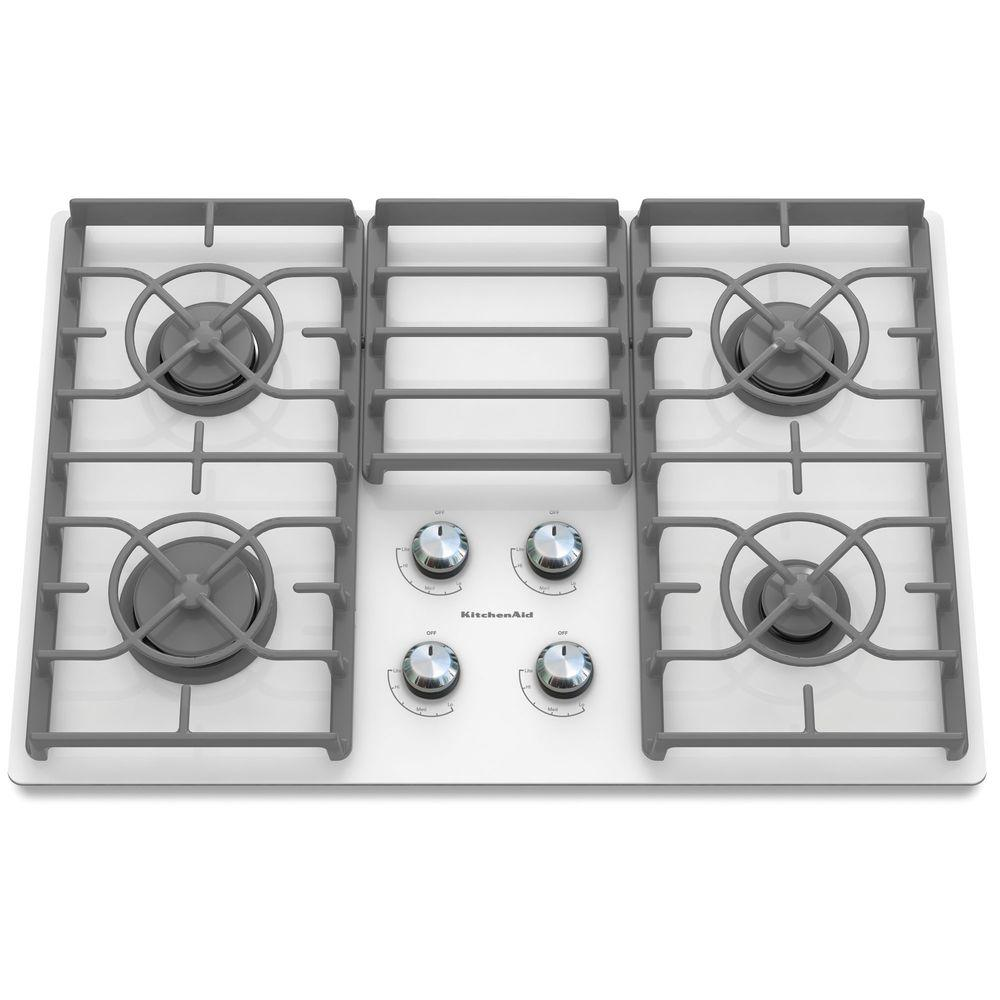 Kitchenaid Architect Series Ii 30 In Gas On Gl Cooktop White With 4 Burners Including 17000 Btu Professional Burner