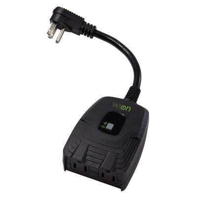 WiOn Outdoor Wi-Fi Dual Outlet with Wireless Switch and Programmable Timer - Black