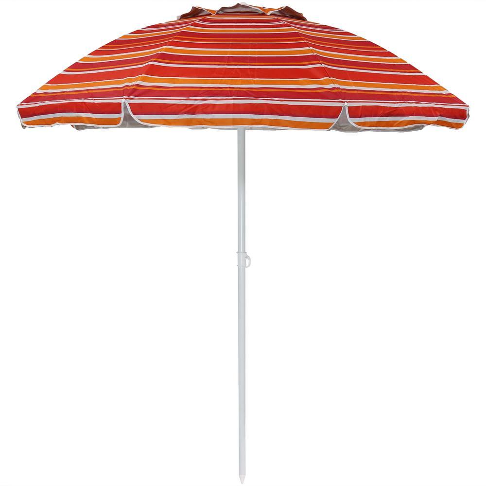 Sunnydaze Decor 6 ft. Malibu Dream Stainless Steel Tilt Beach Umbrella in Orange