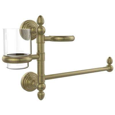 Waverly Place Collection Hair Dryer Holder and Organizer in Antique Brass
