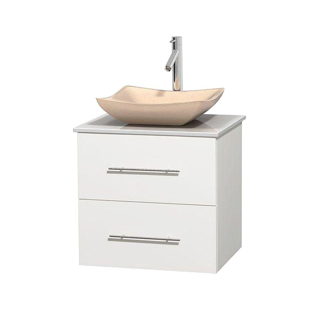 Wyndham Collection Centra 24 in. Vanity in White with Solid-Surface Vanity Top in White and Sink