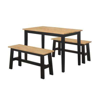 New York 3 Piece Black and Natural Dining Set with 2 Benches