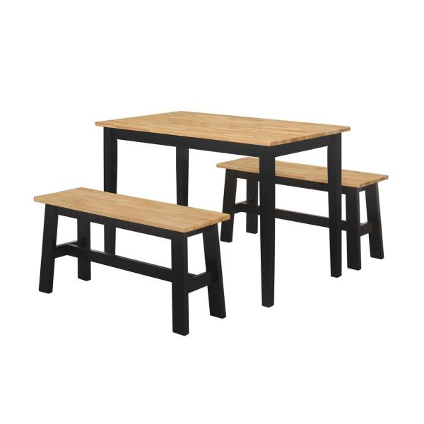 4d Concepts New York 3 Piece Black And Natural Dining Set With 2 Benches 534910 The Home Depot