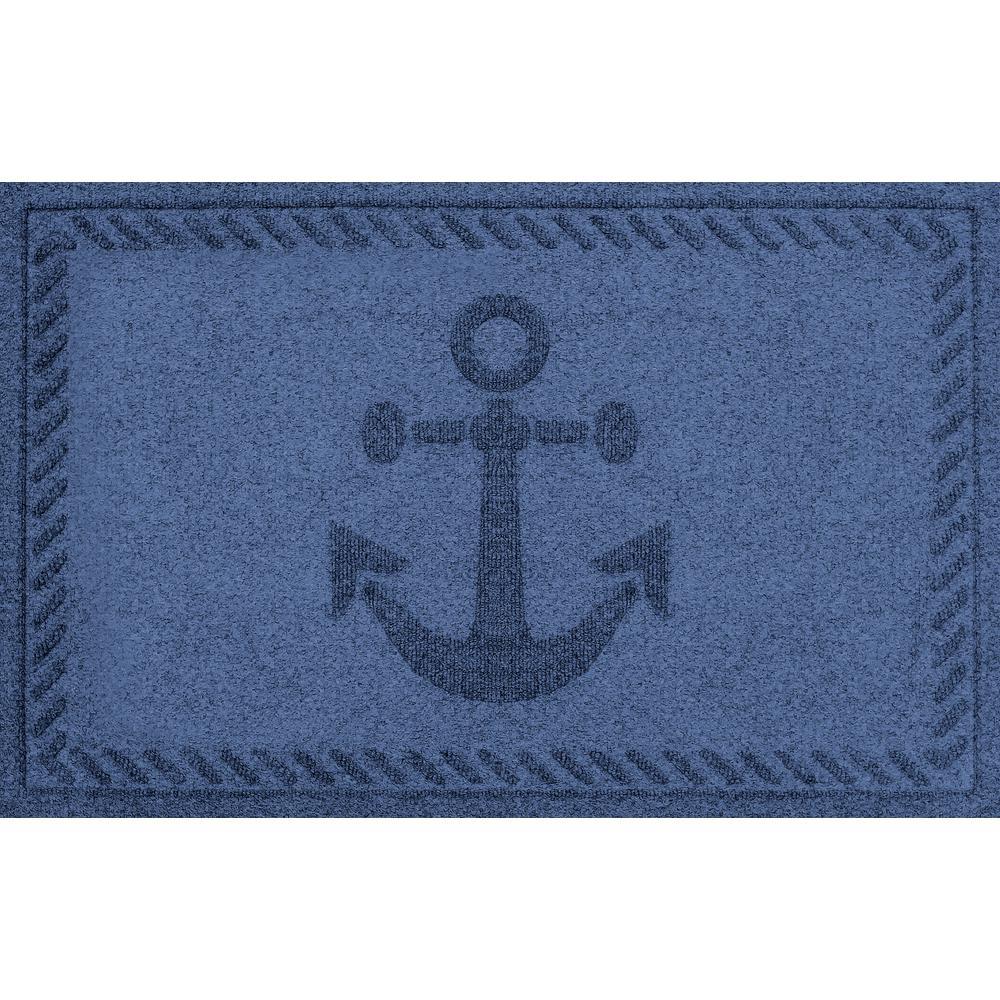Navy 24 in. x 36 in. Ships Anchor Polypropylene Door Mat