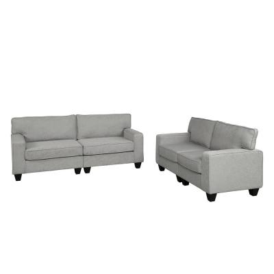 2-Piece Gray Living Room Upholstered Sofa and Loveseat Set