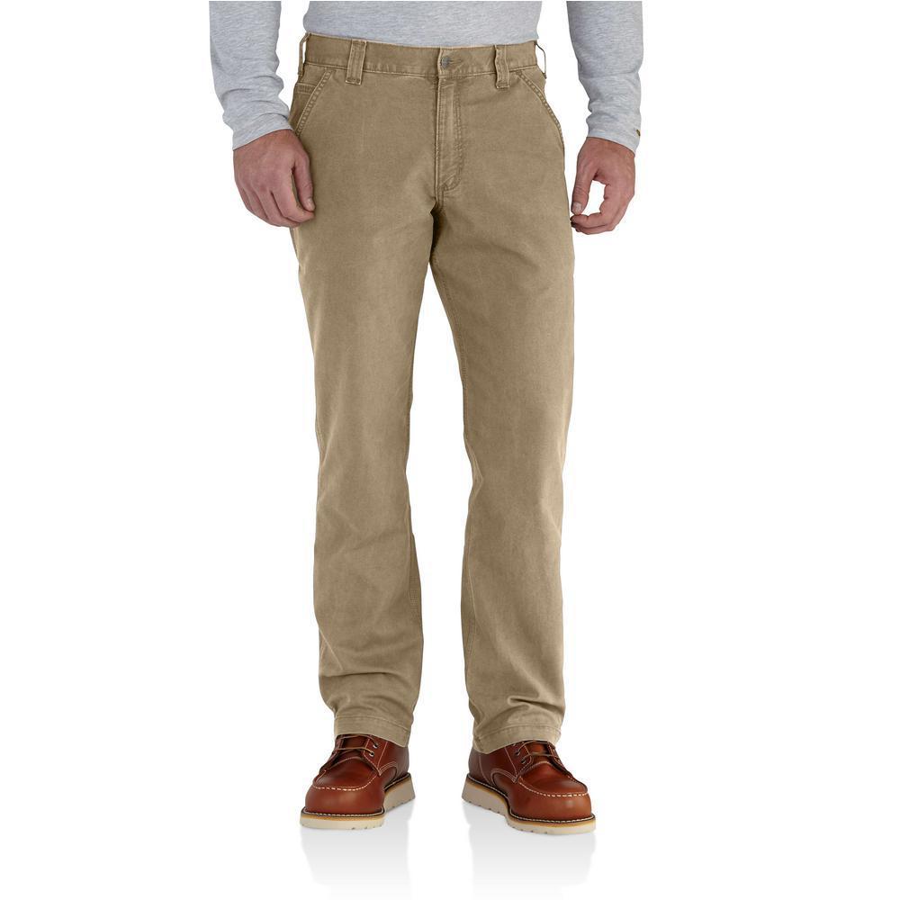 Men's 44 in. x 30 in. Dark Khaki Cotton/Spandex Rugged Flex Rigby Dungaree Pant