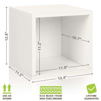Eco Stackable zBoard 13.4 in. x 12.8 in. Tool-Free Assembly Storage 1-Cube Unit Organizer in Pearl White