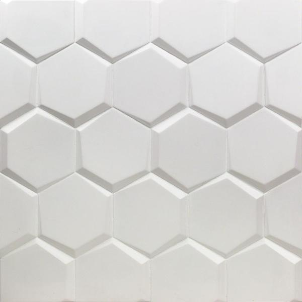 Bethlehem Hexagon White 5.9 in. x 6.96 in. x 8mm Matte Ceramic Wall Tile (25 pieces / 5.4 sq. ft. / box)