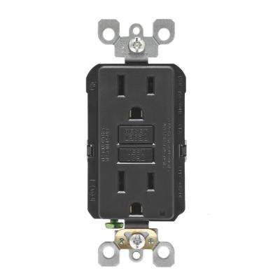 15 Amp Self-Test SmartlockPro Slim Duplex GFCI Outlet, Black