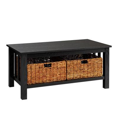 Rustic Wood Accent Coffee Table Basket Storage - Black