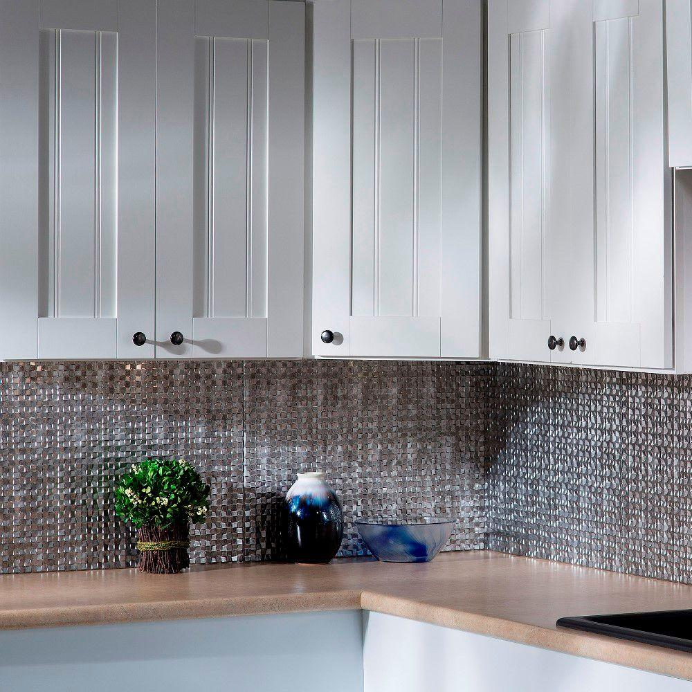 Images Of Fasade Crosshatch Silver Kitchen Backsplash Kitchen