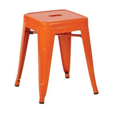 Patterson 18 in. Orange Powder Coated Steel Metal Backless Stool Fully Assembled (2-Pack)