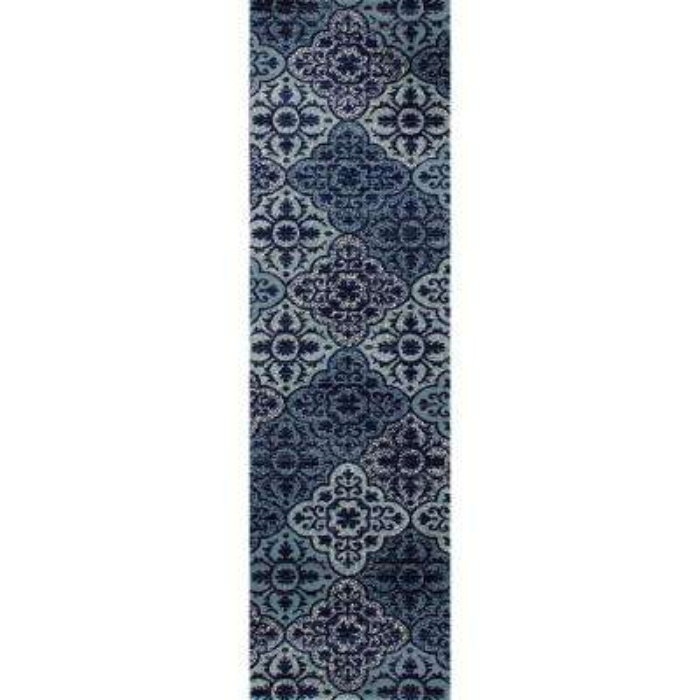 Arabella Tilework Blue 2 ft. x 8 ft. Runner Rug