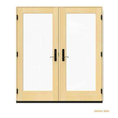 72 in. x 80 in. W-4500 White Clad Wood Right-Hand Full Lite French Patio Door w/Lacquered Interior