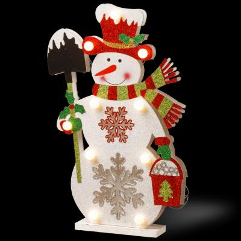 Pre-Lit 17 in. Wooden Snowman