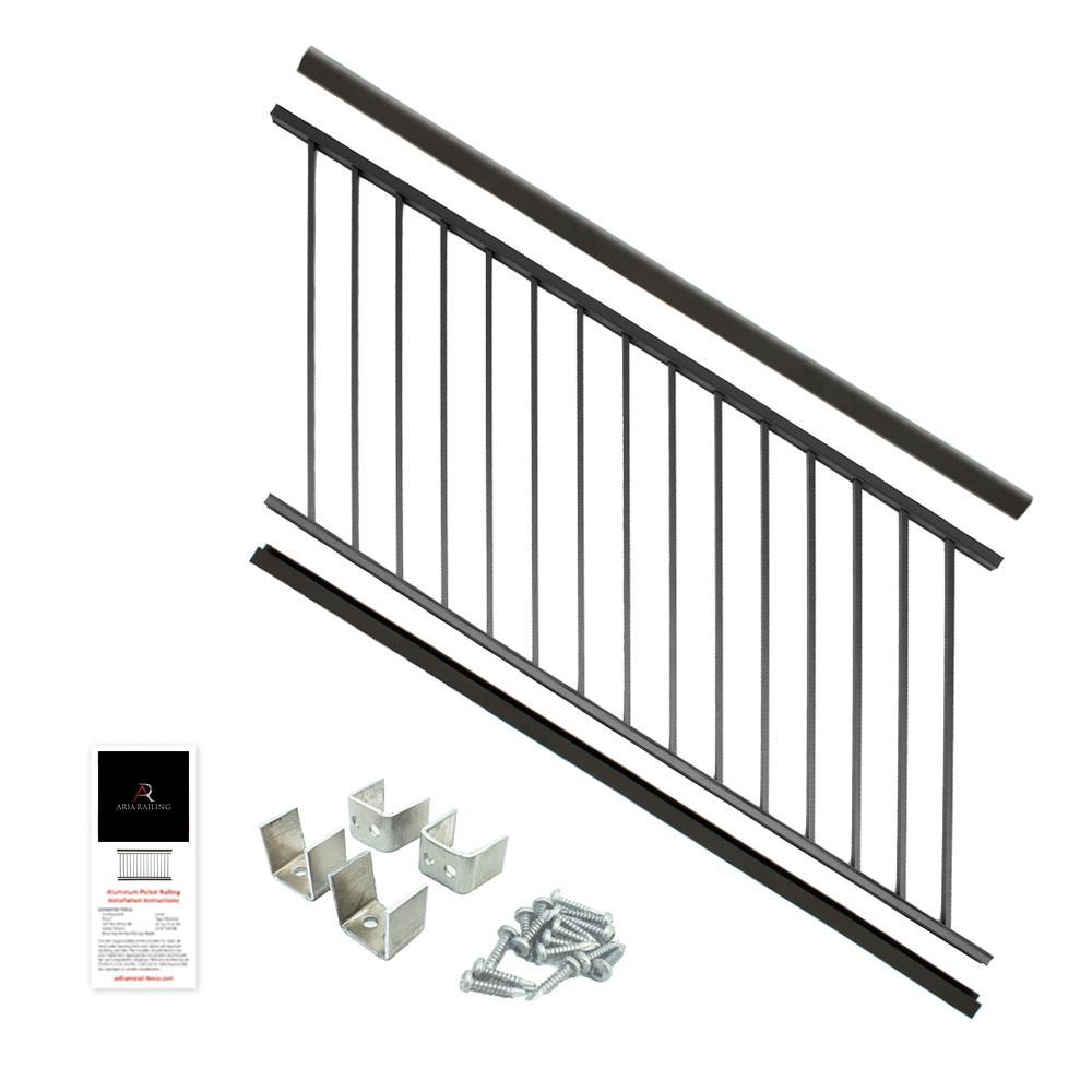 Powder Coated Aluminum Preassembled Deck Stair Railing 36 In. X 6 Ft.    Black