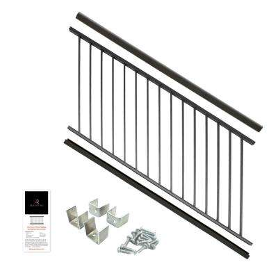 Powder Coated Aluminum Preassembled Deck Stair Railing 36 in. x 6 ft. - Black