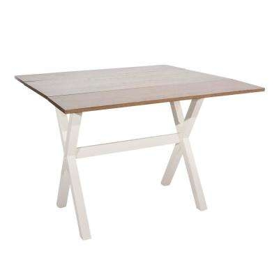 Kalos Rustic Oak with White Antique Base Extendable Dining Table