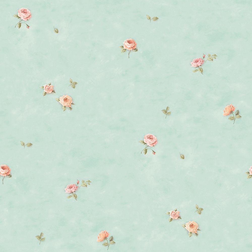 The Wallpaper Company 8 in. x 10 in. Pastel Roses Wallpaper Sample-DISCONTINUED
