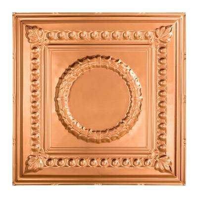 Rosette - 2 ft. x 2 ft. Lay-in Ceiling Tile in Polished Copper