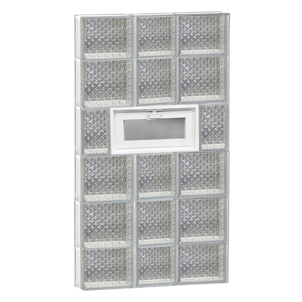21.25 in. x 42.5 in. x 3.125 in. Frameless Diamond Pattern Vented Glass Block Window