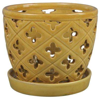 6 in. Honey Ceramic Orchid Pot