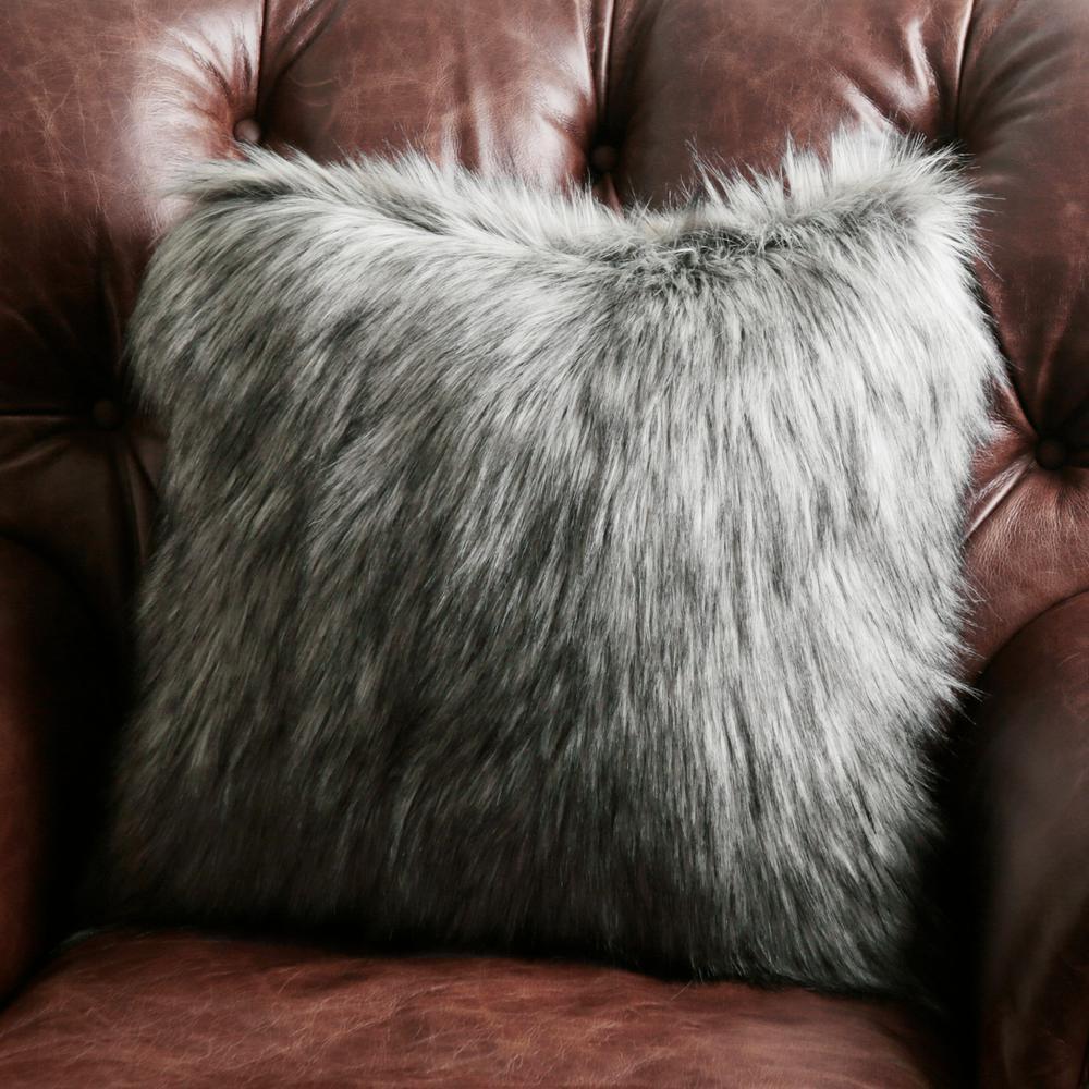 Silver Fox Faux Fur Pillow