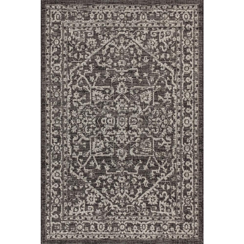 Malta Bohemian Medallion Textured Weave Indoor/Outdoor Black/Gray 5 ft. x 8 ft. Area Rug