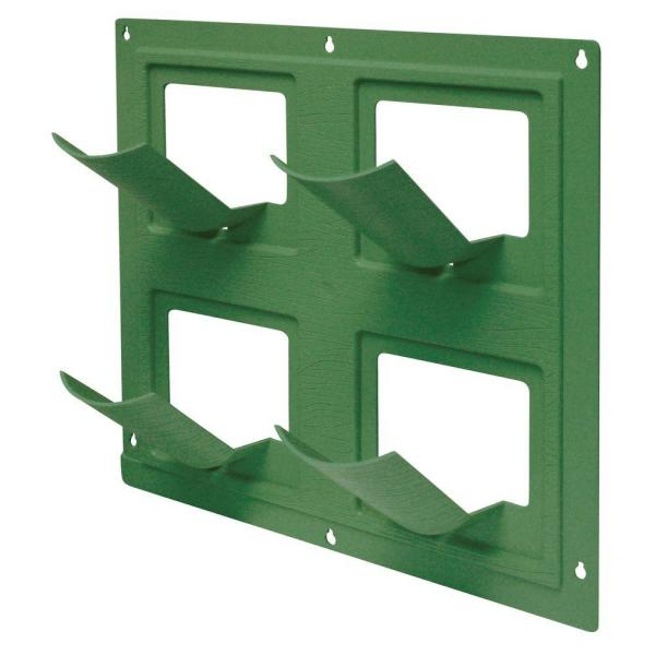 WallFlowers 17 in. Square Resin Living Wall Hanging Flower Planter in Green (4-Pot)