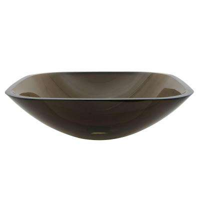 Square Glass Vessel Sink in Brown