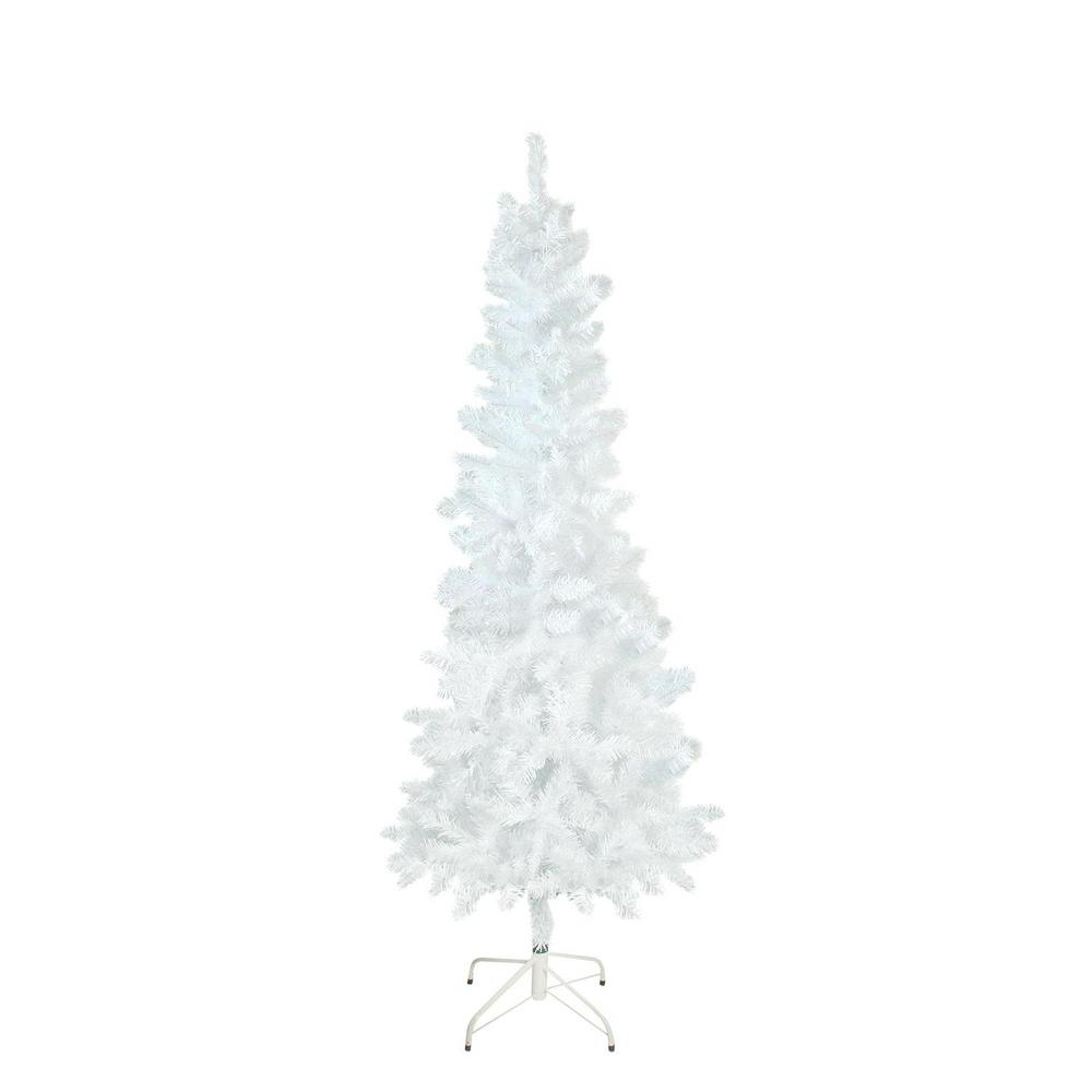 white glimmer iridescent spruce pencil artificial christmas tree - Home Depot White Christmas Tree