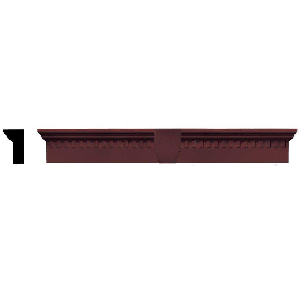 Builders Edge 2-5/8 in. x 6 in. x 43-5/8 in. Composite Classic Dentil Window Header with Keystone in 167 Bordeaux Red