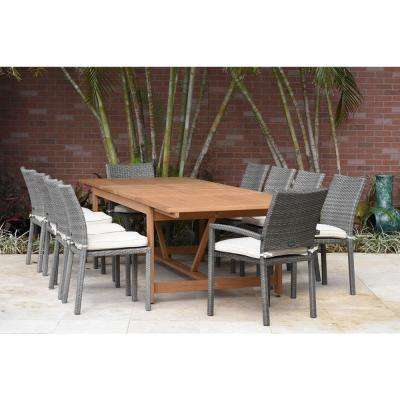 Jameson 11-Piece Wood Rectangular Patio Dining Set with White Cushions