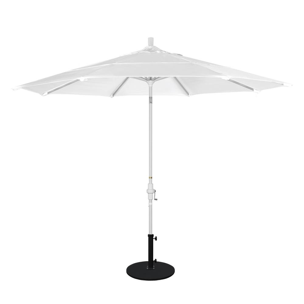 California Umbrella 11 ft. White Aluminum Pole Market Aluminum Ribs Crank Lift Outdoor Patio Umbrella in Natural Sunbrella