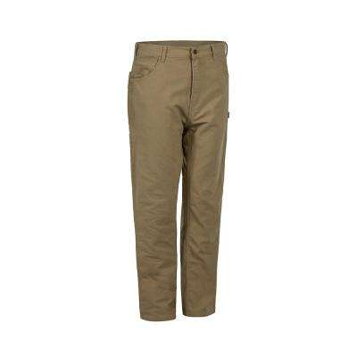 Men's 34 in. x 38 in. Timber Khaki Cotton Washed Duck Flannel Lined Carpenter Pant