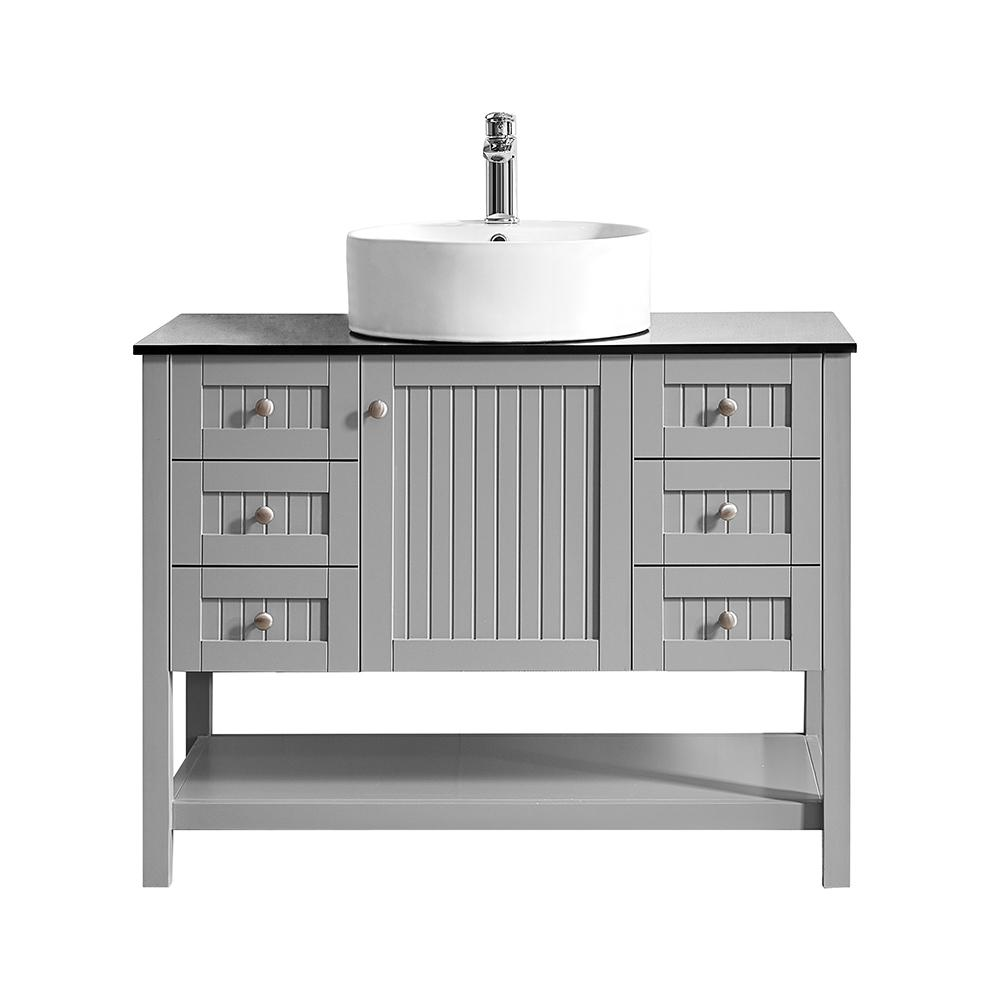ROSWELL Modena 42 in. W x 20 in. D Vanity in Grey with Glass Vanity Top in Black with White Basin