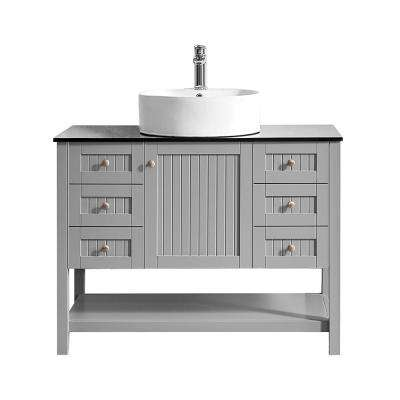 Modena 42 in. W x 20 in. D Vanity in Grey with Glass Vanity Top in Black with White Basin