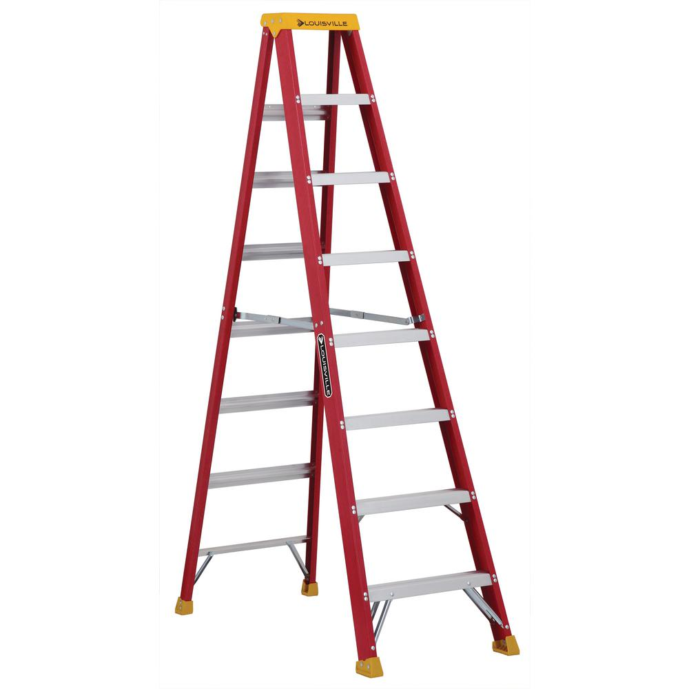 8 ft. Fiberglass Step Ladder with 300 lbs. Load Capacity Type